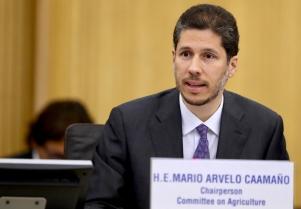 El Embajador Mario Arvelo presidiendo el Comité de Agricultura • Ambassador Arvelo presiding the Committee on Agriculture